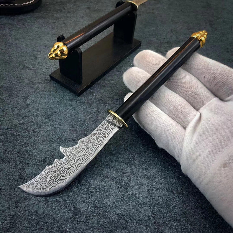 The crescent blade Damascus steel pocket kinfe
