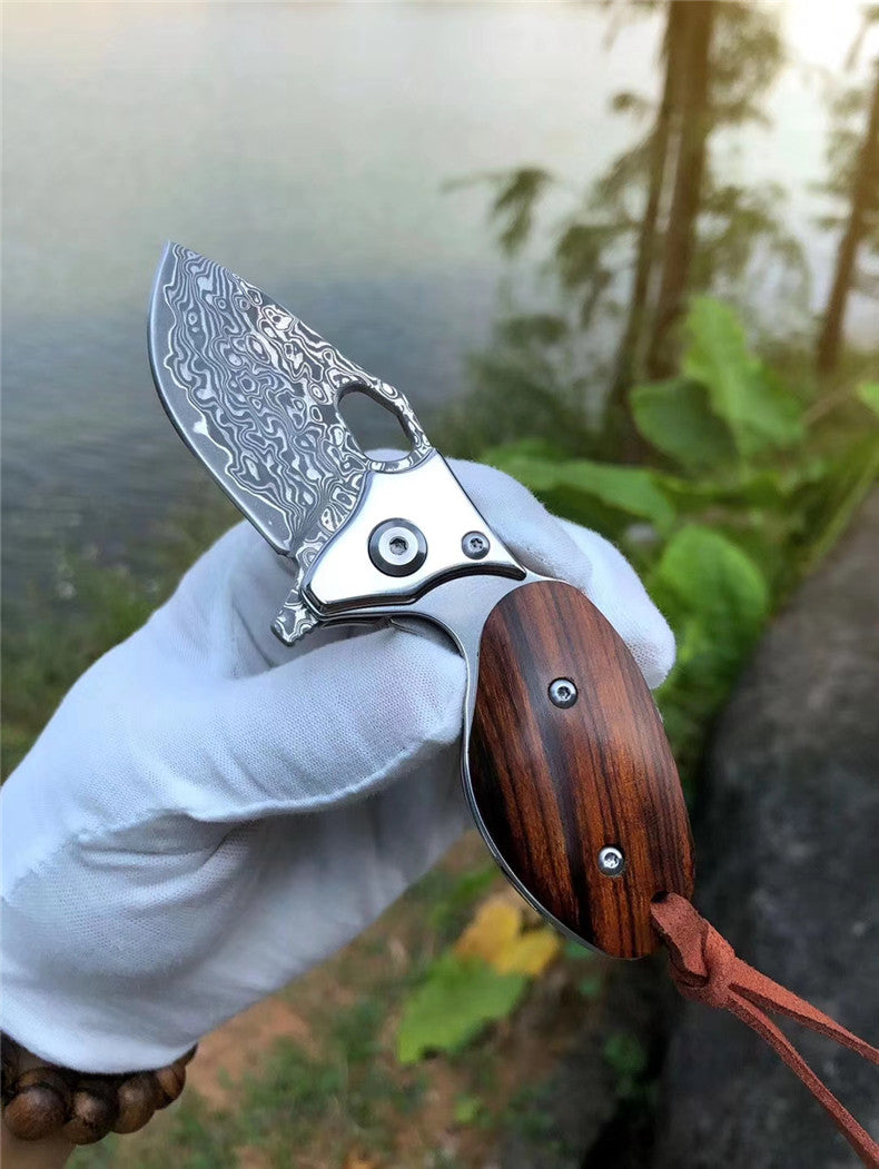 Swamp rat Damascus steel pocket knife