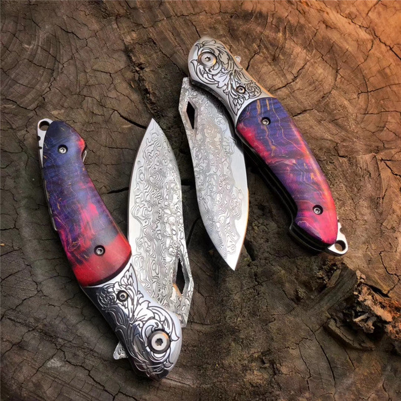 The Rainbow Eagle Damascus steel folding knife