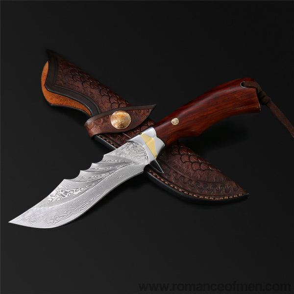 The Red Bat Damascus Steel Fixed Blade-Romance of Men