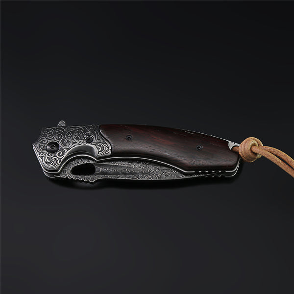 The Mosasaurus Damascus Steel Folding Knife