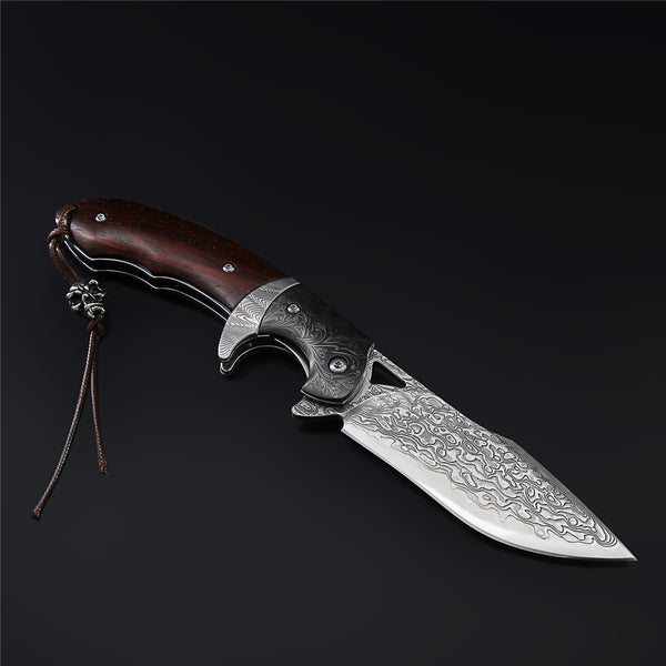 The Enchantress Damascus Steel Folding Knife
