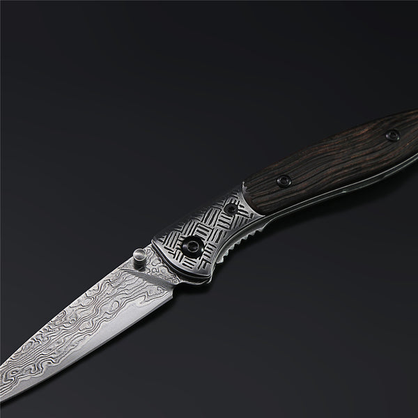 The Flying Fish Damascus Steel Folding Knife