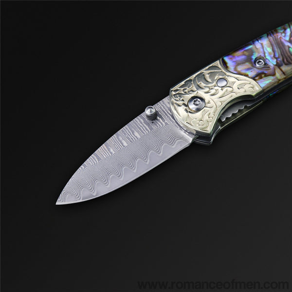 The Oyster Damascus Steel Folding Knife-Romance of Men