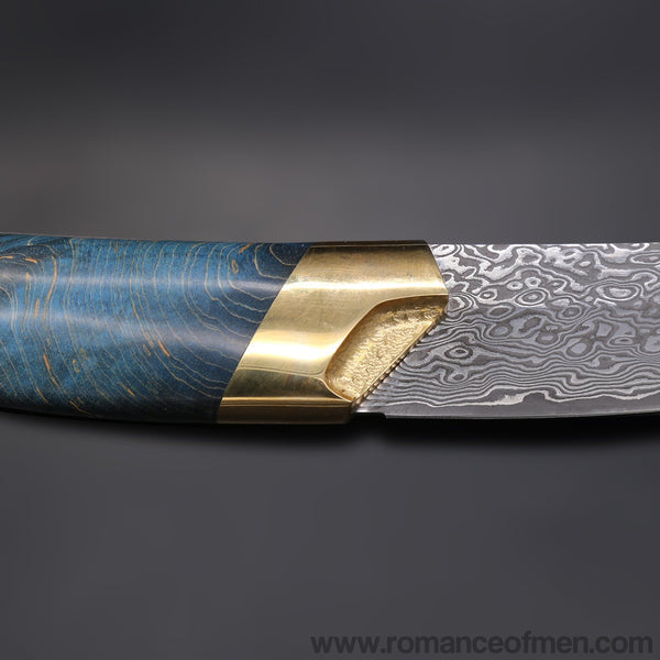 The dog's blade damascus fixed blade knife 24CM-Romance of Men