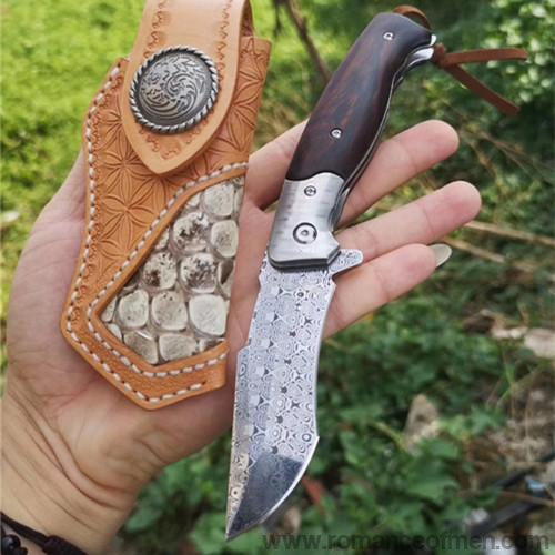 The Leopard king Damascus folding knife 20CM-Romance of Men