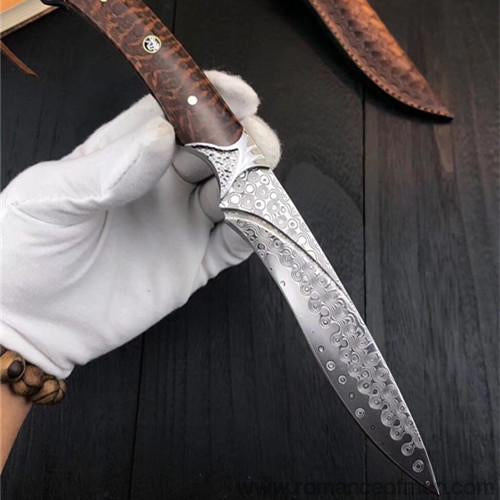 The Snake Spirit Damascus steel fixed blade 22CM-Romance of Men