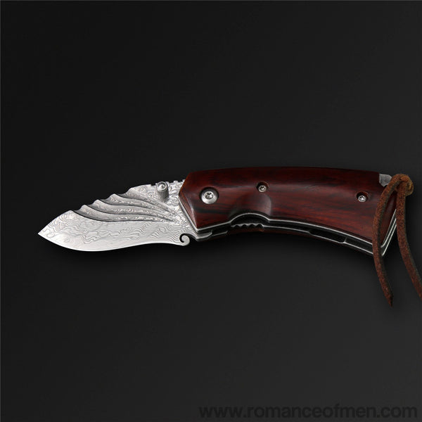 The Meteor Damascus Steel Folding Knife-Romance of Men