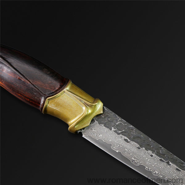 The Titan Damascus Steel Fixed Blade-Romance of Men