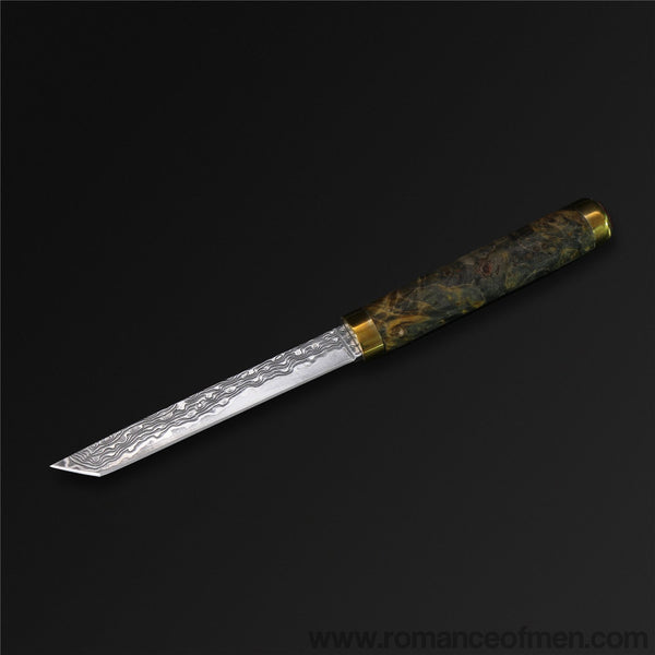 The Magic Pen Damascus Steel Fixed Blade-Romance of Men