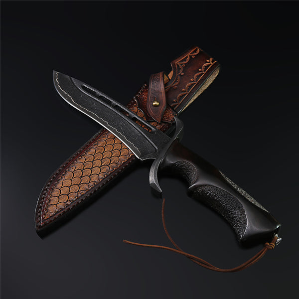 The Darkness Reaper Damascus Steel Fixed Blade