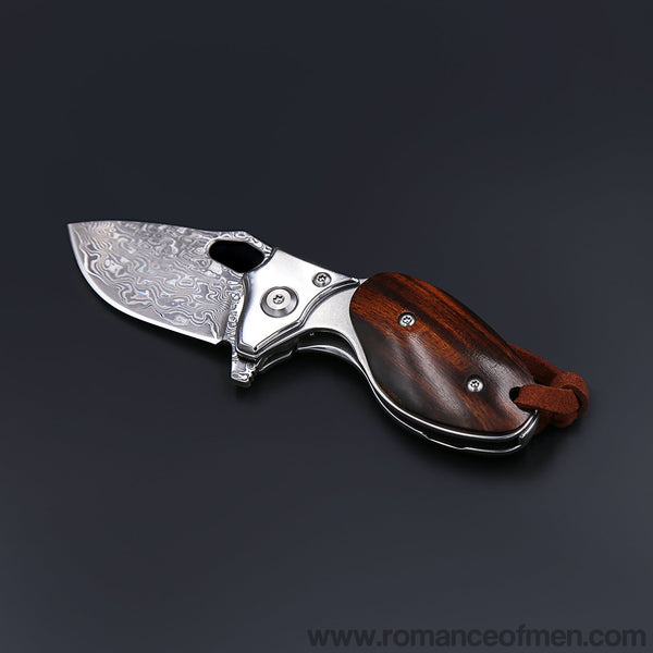 Swamp rat Damascus steel pocket knife-Romance of Men
