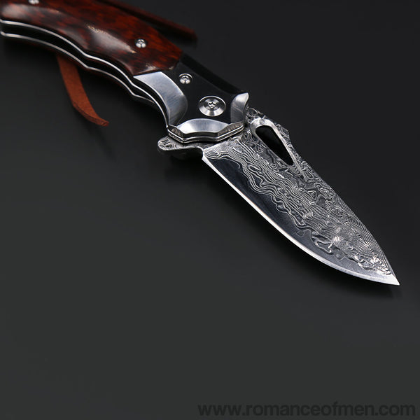 The Arrowshark Damascus steel folding knife-Romance of Men