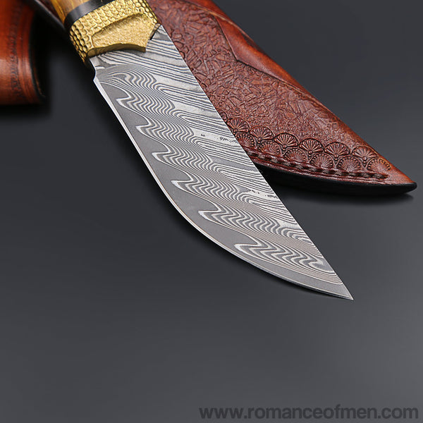 The Roland Warrior Damascus steel fixed blade-Romance of Men