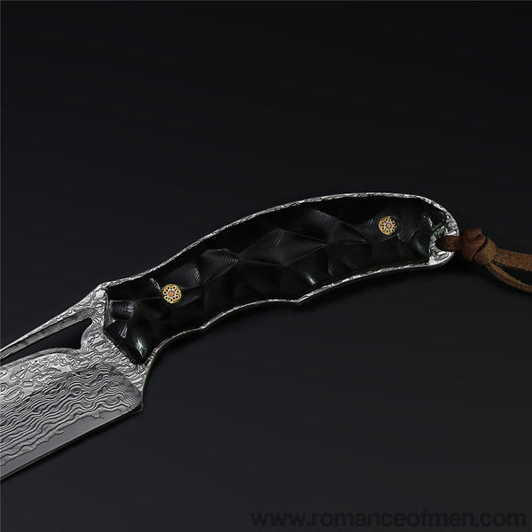 The Soul Hunter Damascus Steel Hunting Knife Fixed Blade-Romance of Men