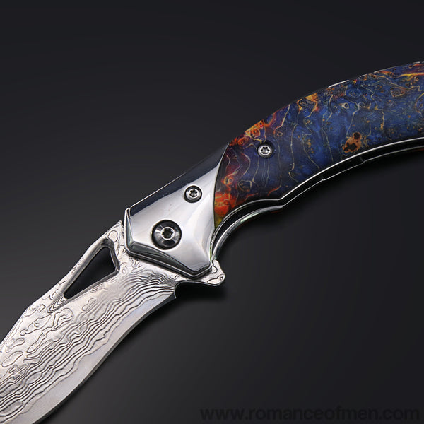 The Mystery Damascus Steel Folding Knife Pocket Knife-Romance of Men