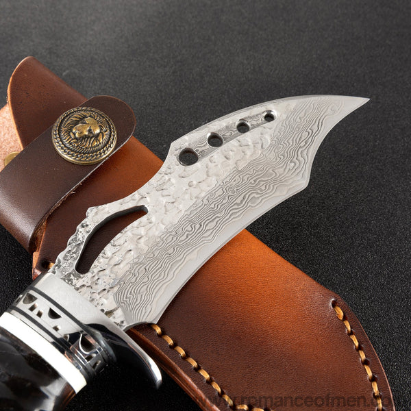 The vulture damascus fixed blade knife 21 CM-Romance of Men