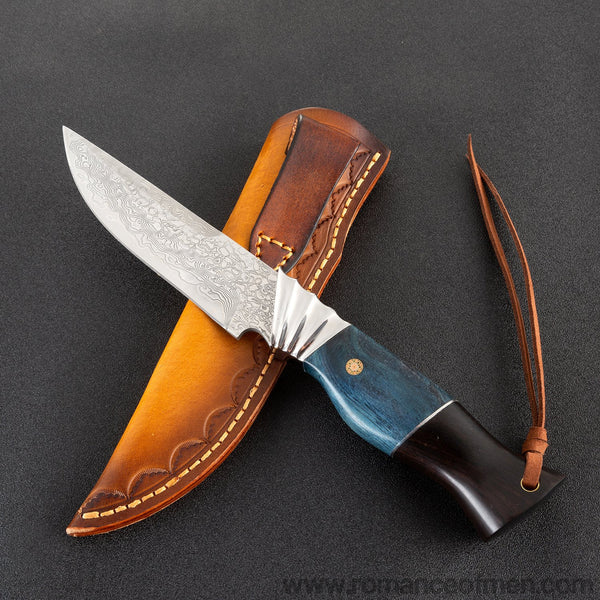 The finch damascus fixed blade knife 24CM-Romance of Men