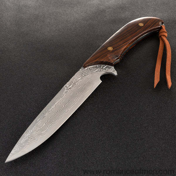 The wisdom damascus fixed blade knife 27CM-Romance of Men
