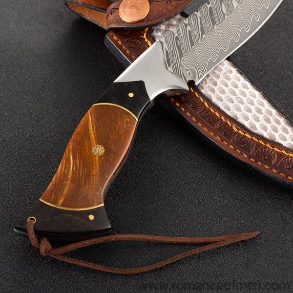 The erlang damascus fixed blade knife 26CM-Romance of Men