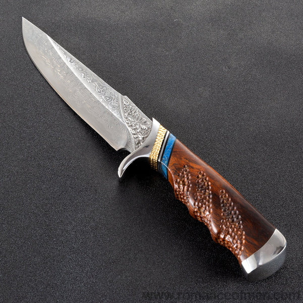 The maple damascus fixed blade 27CM-Romance of Men