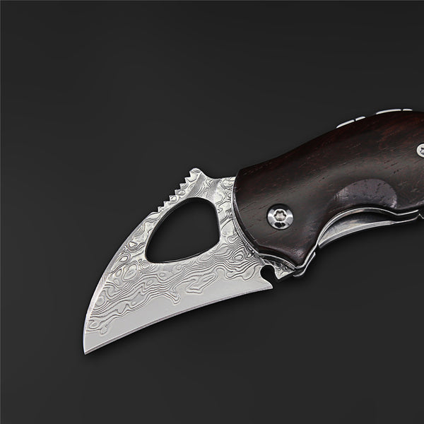 The Squirrel Damascus Steel Folding Knife