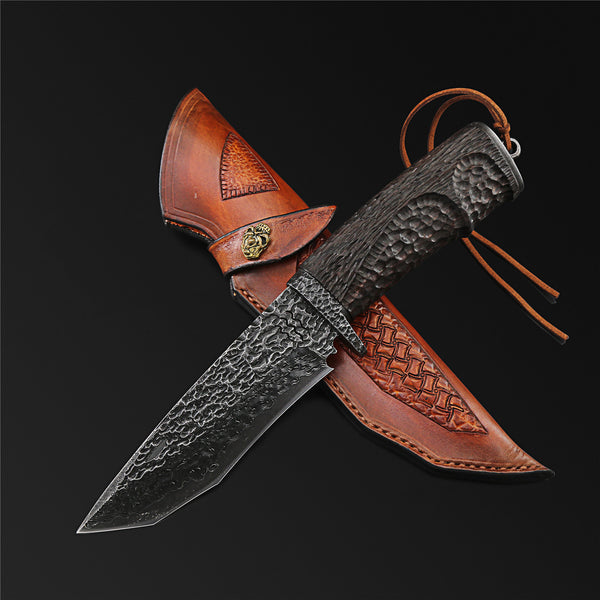 The Dark Warrior Damascus Steel Fixed Blade