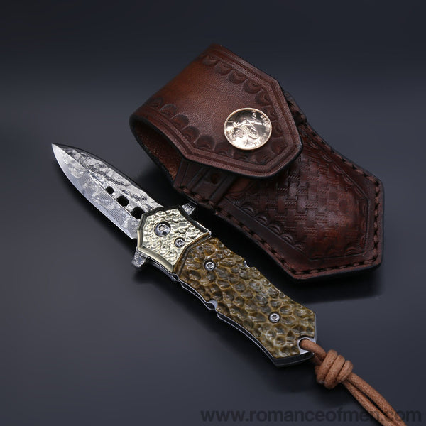 Blue sharp Damascus steel folding knife-Romance of Men