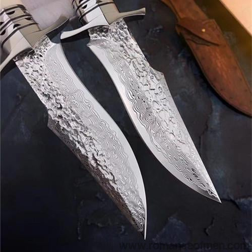 The bux damascus fixed blade knife 26CM-Romance of Men
