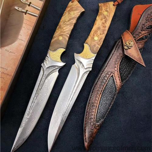 The fox damascus fixed blade knife 26CM-Romance of Men