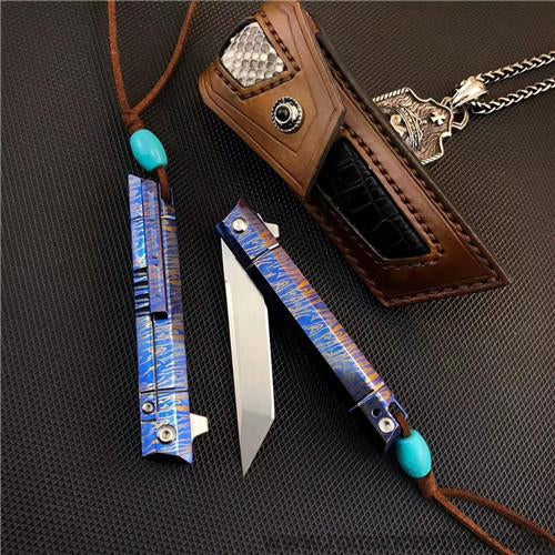 The officer #1 samurai folding knife M390 blade 17CM-Romance of Men