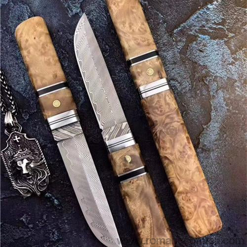 The yoshioka warrior damacus fixed blade knife-Romance of Men