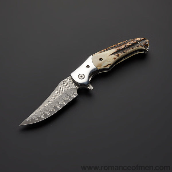 The footprint Damascus Pocket Knife 20CM-Romance of Men