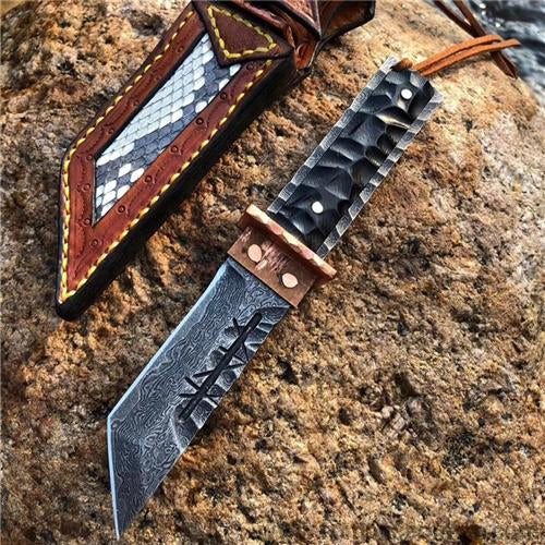 The Prajna Warrior Damascus steel pocket knife-Romance of Men