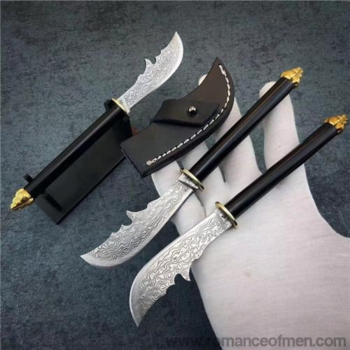 The crescent blade Damascus steel pocket kinfe-Romance of Men