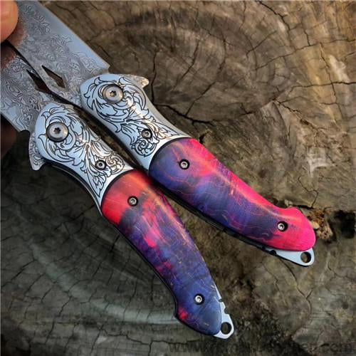 The Rainbow Eagle Damascus steel folding knife-Romance of Men