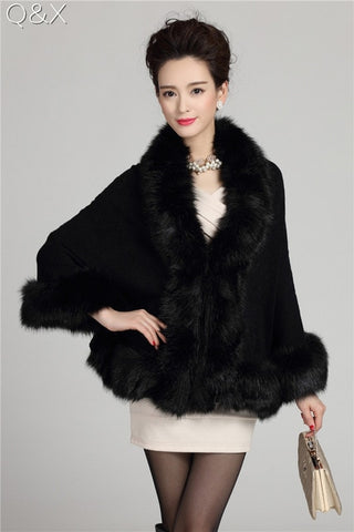 Faux Fox Fur Cashmere Shawl