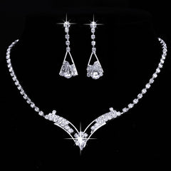 V Shaped  Necklace Set  With Sparkling Austrian Crystal