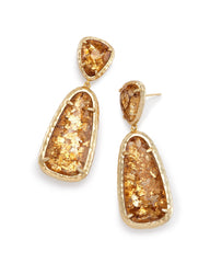 Crystal 18K Gold Filled Citrine Stone Drop Earrings