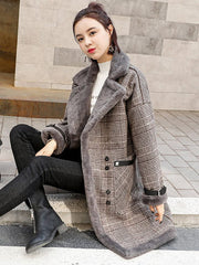 Elegant  Plaid Wool Blend Winter Coat