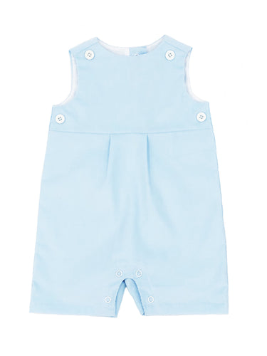 baby blue corduroy short romper with baby blue teething bib