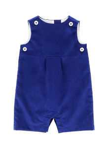 royal blue corduroy short romper with royal blue teething bib