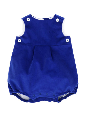 royal blue corduroy bubble with royal blue teething bib