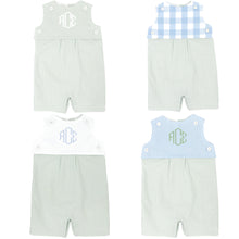 Load image into Gallery viewer, celery green gingham short romper with celery green gingham teething bib