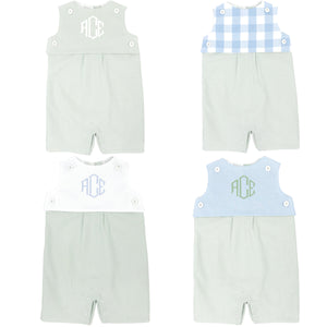celery green gingham short romper with celery green gingham teething bib