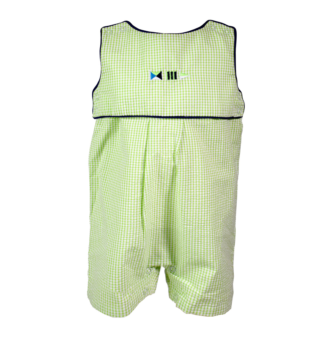 green seersucker short romper