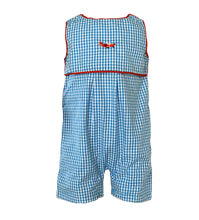 Load image into Gallery viewer, turquoise gingham short romper