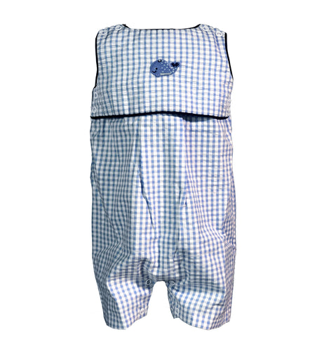 blue seersucker short romper