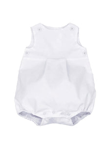 white corduroy bubble with white teething bib