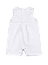 Load image into Gallery viewer, white corduroy short romper with white teething bib